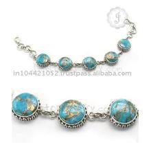 Fournisseur de gros pour un bracelet en argent plaqué or Turquoise