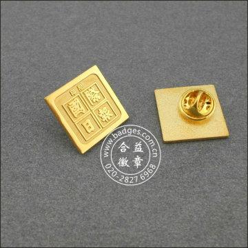 Insignia cuadrada desigual del oro, Pin grabado de la solapa (GZHY-BADGE-004)