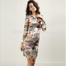 Pas Cher Prix Manches Longues Femmes Robes Prom Tie Dye Imprimer Moulante Midi Dames Bureau Robes