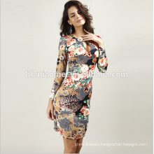 Cheap Price Long Sleeves Women Dresses Prom Tie Dye Print Bodycon Midi Ladies Office Dresses