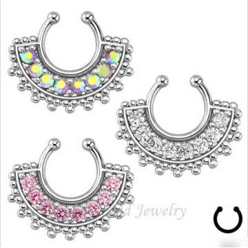 316L Surgical Steel Indian Nose Ring Body Piercing Septum Clicker