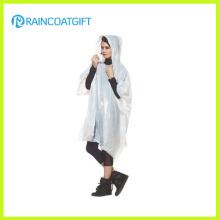 Adult Reusable White PVC Rain Poncho Rpe-045