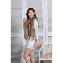 2016 New Design Knitted Real Rabbit Fur Women Vest Lady Winter Spring