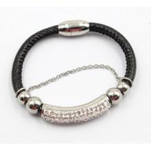 Горячий магнит сбывания соединяет неподдельный кожаный браслет и браслет нержавеющей стали