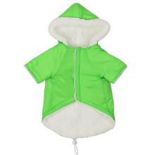 Pet green plus velvet hooded soft warm double pocket cotton vest