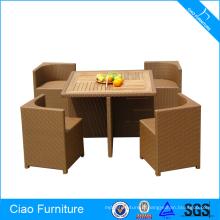 Ensemble de table à manger en bois de meubles de rotin