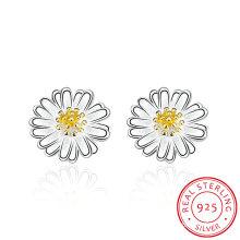 925 Sterling Silver Flower Shape Ear Stud Lovely Design Earring for Your Girl