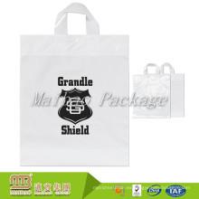 Personalizado Impreso Llevar Empaquetado Calor Hdpe Bucle Suave Maneja Pequeñas Bolsas de Plástico Transparentes para La Venta