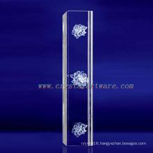 K9 3D Laser Plants Etched Crystal with Pillar Shape