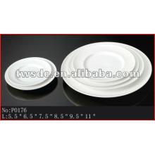 Hotelware white porcelain flat dinner plates (No.P0176)