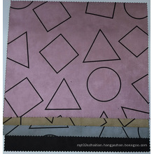 Geometric Printing Suede Fabric Compounded Woven Backing