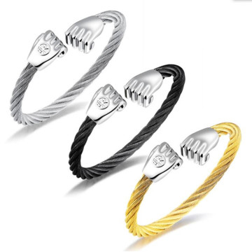Kabel Stainless Steel Emas Fist Charm Wire Bangle