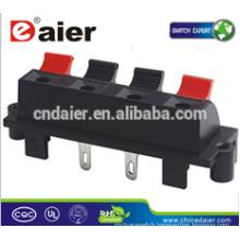 Daier WP4-6C 4P Red& Black Clip Push Spring Type Speaker Terminal Clip Spring Terminal Socket