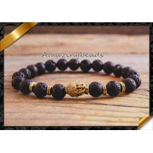 Das wulstige Armband der Männer, halb kostbares Steinkorn-Lava-Armband, Art- und Weisearmband-Schmucksache-Großverkauf (CB045)