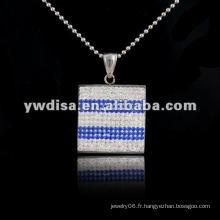 Pendentif en acier inoxydable pour femmes collier en acier inoxydable Collier en gros avec pendentifs carrés en acier inoxydable