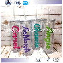 500ml doble pared para requisitos particulares plástico vasos impresos con Logos