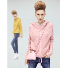 Custom Logo Fashion Design Zipper-up Women Hoodies Sweatshirt
