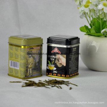 Pequeño té cuadrado de embalaje de la caja de estaño con barniz de grado alimentario China Supplier