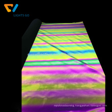 Factory high visibility iridescent spandex rainbow reflective fabric to make jackets