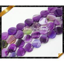 Twist бусы, фиолетовый агат ювелирные изделия с полосатыми драгоценными камнями бисер Оптовая (AG019)
