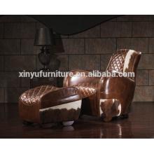 Aviator vintage leather armchair sofa with stool A618