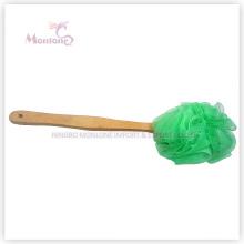 36*9cm Bath Scrubber Puff Mesh Long Wooden Handle Bath Sponge