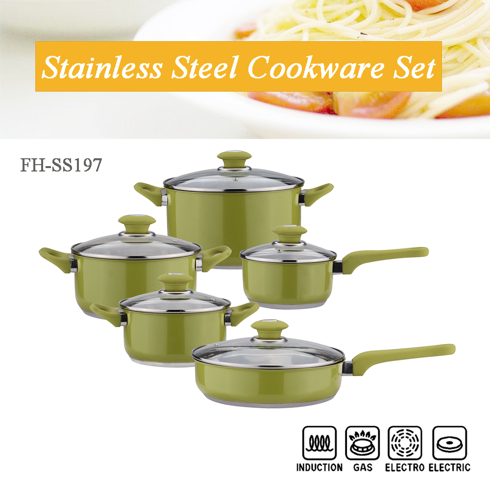 Green color cookware set