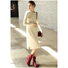 Women′s Cashmere Dress with Round Neck (13brdw098)