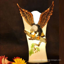 The eagle is hanging in the branches, hand printed ceramic/porcelain home made fancy lamp shades