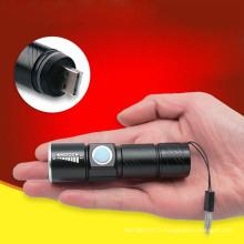 Mini Pocket USB Zoom Lampe de poche Mini torche LED rechargeable portable