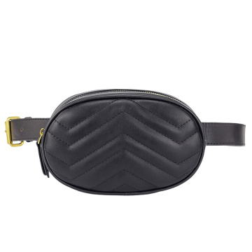 Quilted Women Fashion Waist Bag med två bälten