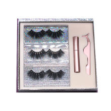 MH012H Hitomi Private Label Mink Eyelashes Eyelash Case soft natural Fluffy 25mm Magnetic Eyelashes with Eyeliner and tweezers