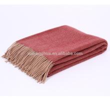 Manto 100% merino de la manta de la capa de la raspa de arenque manta al por mayor del tamaño
