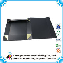 Caja de empaquetado magnética de la cartulina plegable negra de encargo