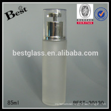 85ml cosmetic serum bottles with silver pump, cosmetic packaging bottles, skin care cream glass bottle supplier