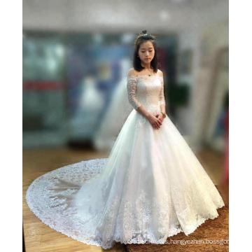 Off Shoulder Bridal Wedding Dresses Ivory Tulle Pakistani Gowns Lace Hem Half Sleeve Wedding Dress