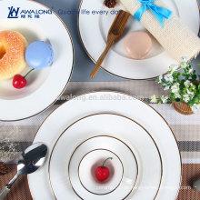 Western Design Elegant Style Fine Bone China Plain White Geschirr Geschirr Teller