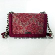 Elegant Design Lady PU Canvas Embroidered Chain Leather Handbags (NMDK-032905)