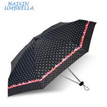 Las empresas manufactureras chinas Mini Sombrillas Dots and Hearts Custom Print 5 Las bolsas plegables para paraguas