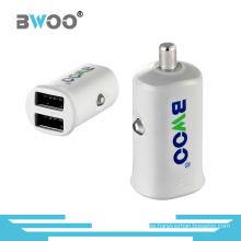 Adaptador de cargador de coche USB de puerto dual al por mayor Mini marca personalizada