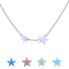 Mode Frauen Synthetische Feueropal Stern 925 Sterling Silber Kette Halskette