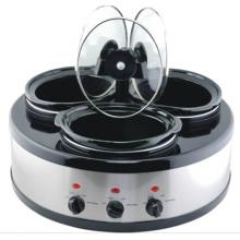 Chauffe-plat / réchauffeur de nourriture / Buffet de triple mijotage ovale de 3-en-1