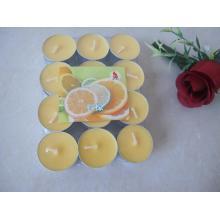 Zitronengelbe duftende Teelichtkerze
