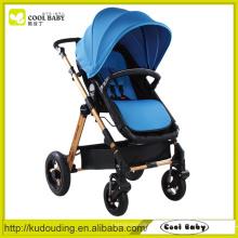 China Carrinho de bebê fabricante Rodas reversíveis do assento giratório com suspensão braço removível Carrinho de bebê azul