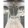 На Заказ Кружева Свадебное Платье Платье Золотого Кристаллов Прозрачный С Длинным Рукавом Свадебные Платья Плюс Размер Женщин Платья