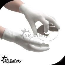 SRSAFETY 13G белый полиэфирный лайнер с покрытием белый PU защитные рабочие перчатки, садовые рабочие перчатки.