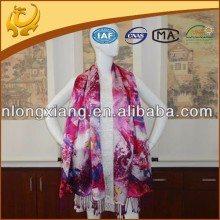 Digital Printed Double Layer Wedding 100% Pure Silk Scarf For Woman