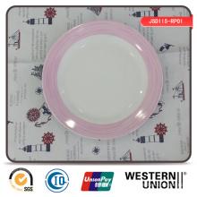 Requintado decalque de porcelana prato de jantar