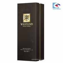 Embalagem de cartão de papelão personalizado de alta qualidade preto por atacado Caixa de vinho de papel