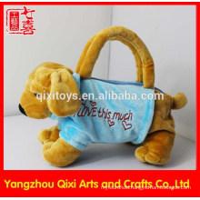 New design plush hand bag dog shaped bag plush toy animal shape bag